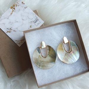Jewelry - Disc Shape Goldtone Earrings - Black Lip Shell